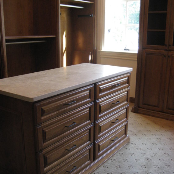 Island with Marble Countertop Governors Club Walk In Closet - The Closet Company